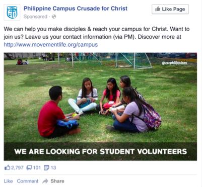 Facebook ad spiritual growth pathway