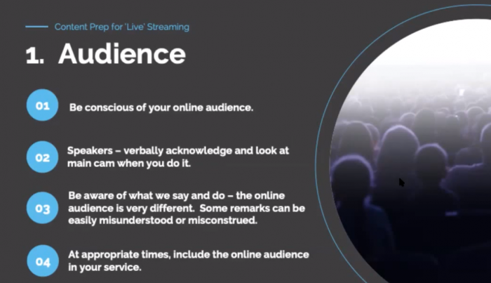 Know audience for live streaming church service
