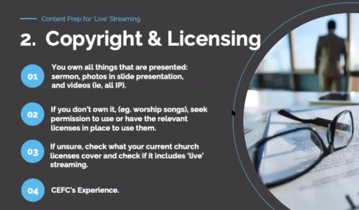 Copyrights for live streaming your church service